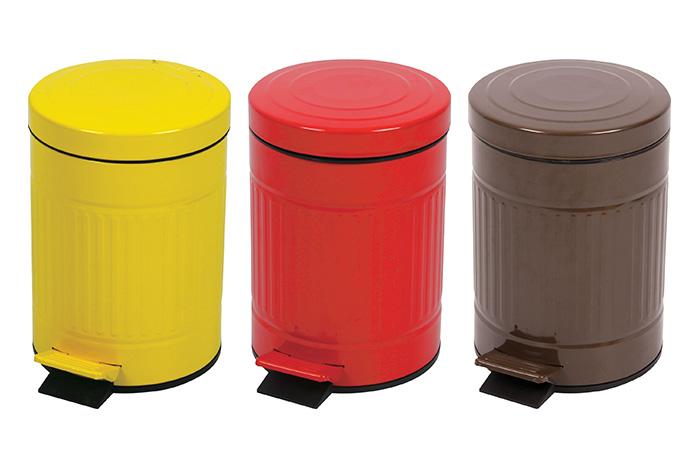 カラフルなペダル式ふた付きゴミ箱 5L キューボ